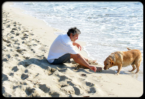 A man and his dog on the beach