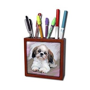 Dogs ShihTzu - Shih Tzu puppy - Tile Pen Holders-5 inch tile pen holder